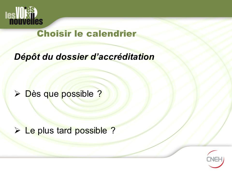Choisir le calendrier Dépôt du dossier daccréditation Dès que possible ? Le plus tard possible ?