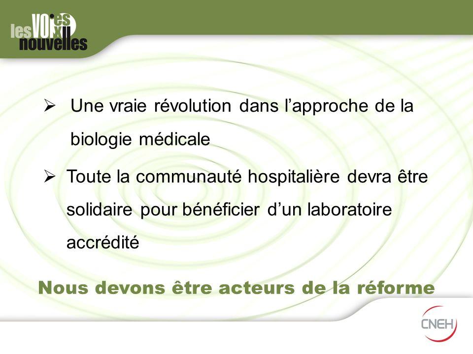 Nous devons être acteurs de la réforme Une vraie révolution dans lapproche de la biologie médicale Toute la communauté hospitalière devraêtre solidair