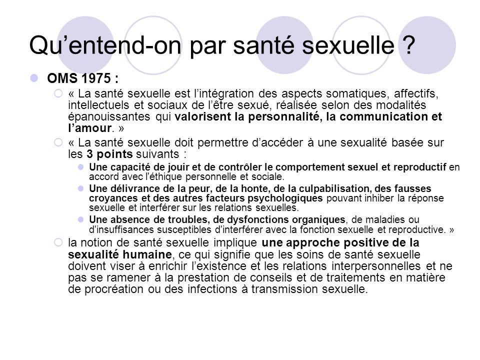 Quentend-on par santé sexuelle ? OMS 1975 : « La santé sexuelle est lintégration des aspects somatiques, affectifs, intellectuels et sociaux de lêtre