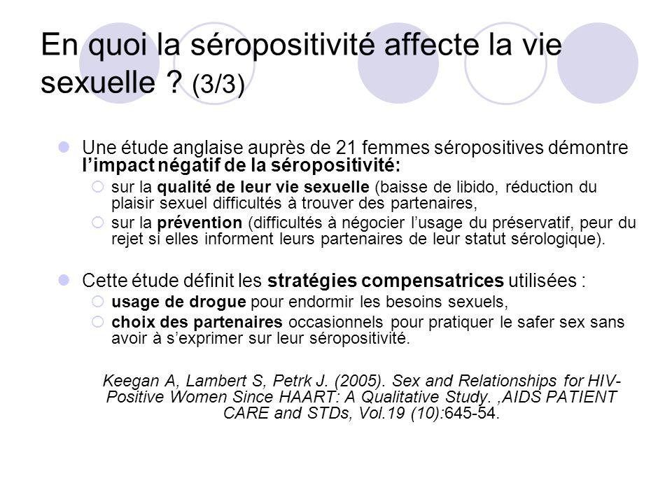 En quoi la séropositivité affecte la vie sexuelle ? (3/3) Une étude anglaise auprès de 21 femmes séropositives démontre limpact négatif de la séroposi