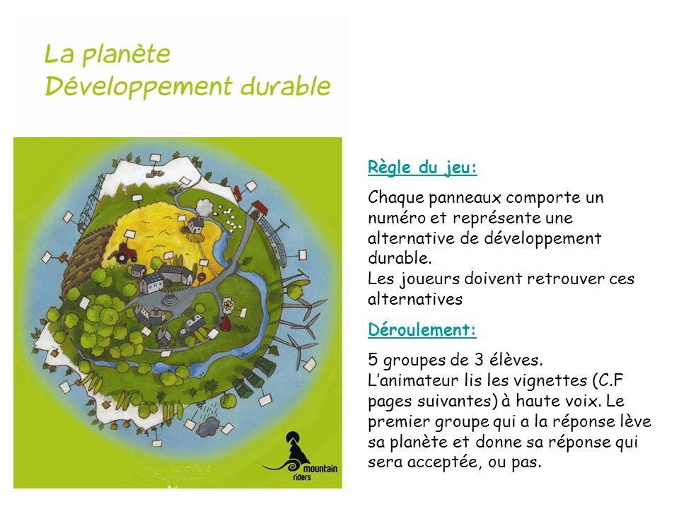 Règle du jeu: Chaque panneaux comporte un numéro et représente une alternative de développement durable.