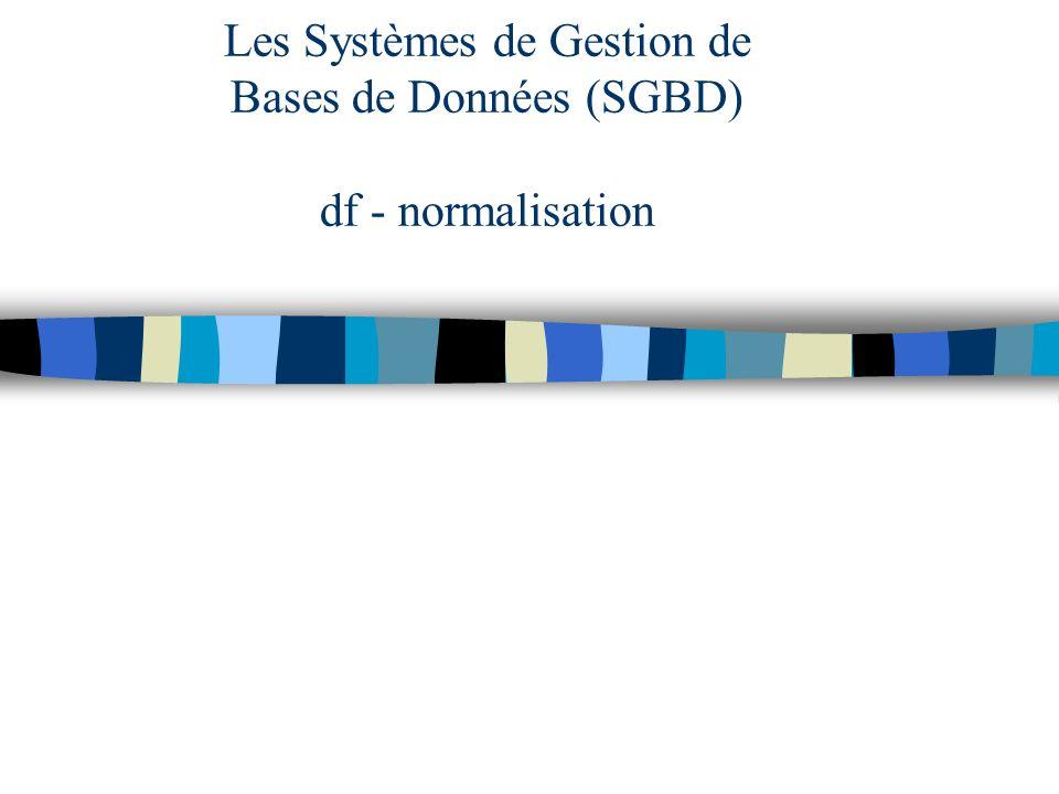 B.Sadeg Le Havre 2006-2007 Df élémentaire : R un schéma, X, Y, Z des ens d attr., X --> Y est une df élémentaire, si c est une df et il n existe pas Z inclus dans X avec Z -> Y.