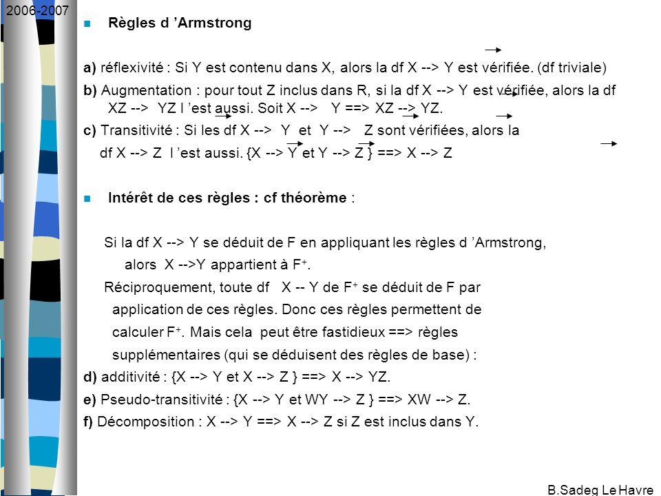 B.Sadeg Le Havre 2006-2007 Règles d Armstrong a) réflexivité : Si Y est contenu dans X, alors la df X --> Y est vérifiée. (df triviale) b) Augmentatio