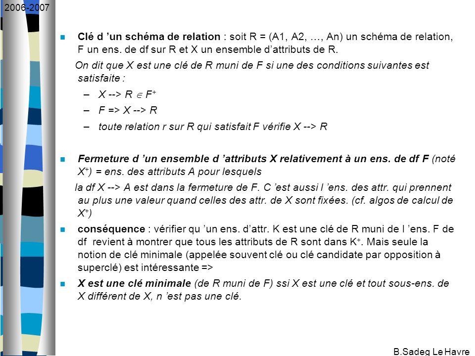 B.Sadeg Le Havre 2006-2007 Clé d un schéma de relation : soit R = (A1, A2, …, An) un schéma de relation, F un ens. de df sur R et X un ensemble dattri