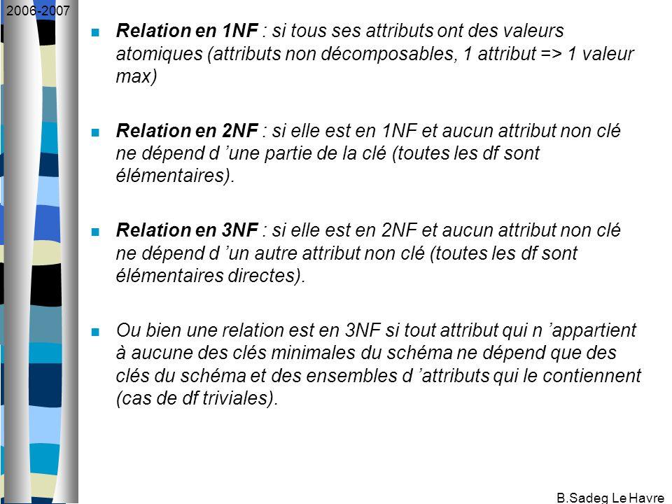 B.Sadeg Le Havre 2006-2007 Relation en 1NF : si tous ses attributs ont des valeurs atomiques (attributs non décomposables, 1 attribut => 1 valeur max)