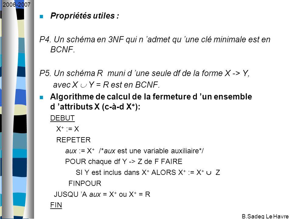 B.Sadeg Le Havre 2006-2007 Propriétés utiles : P4. Un schéma en 3NF qui n admet qu une clé minimale est en BCNF. P5. Un schéma R muni d une seule df d