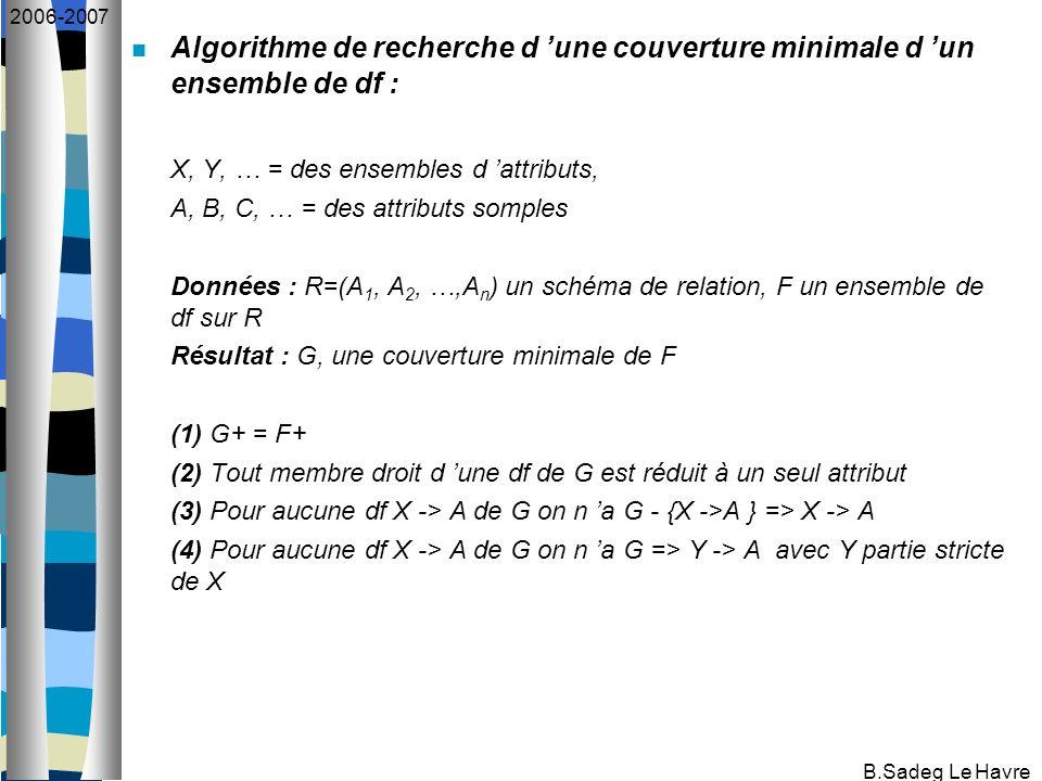 B.Sadeg Le Havre 2006-2007 Algorithme de recherche d une couverture minimale d un ensemble de df : X, Y, … = des ensembles d attributs, A, B, C, … = d