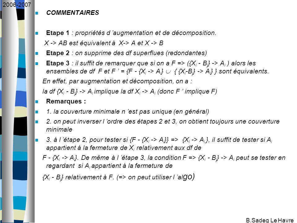 B.Sadeg Le Havre 2006-2007 COMMENTAIRES Etape 1 : propriétés d augmentation et de décomposition. X -> AB est équivalent à X-> A et X -> B Etape 2 : on