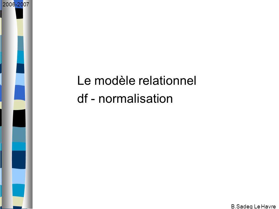 B.Sadeg Le Havre 2006-2007 Etude approfondie du modèle relationnel Introduit par E.F.