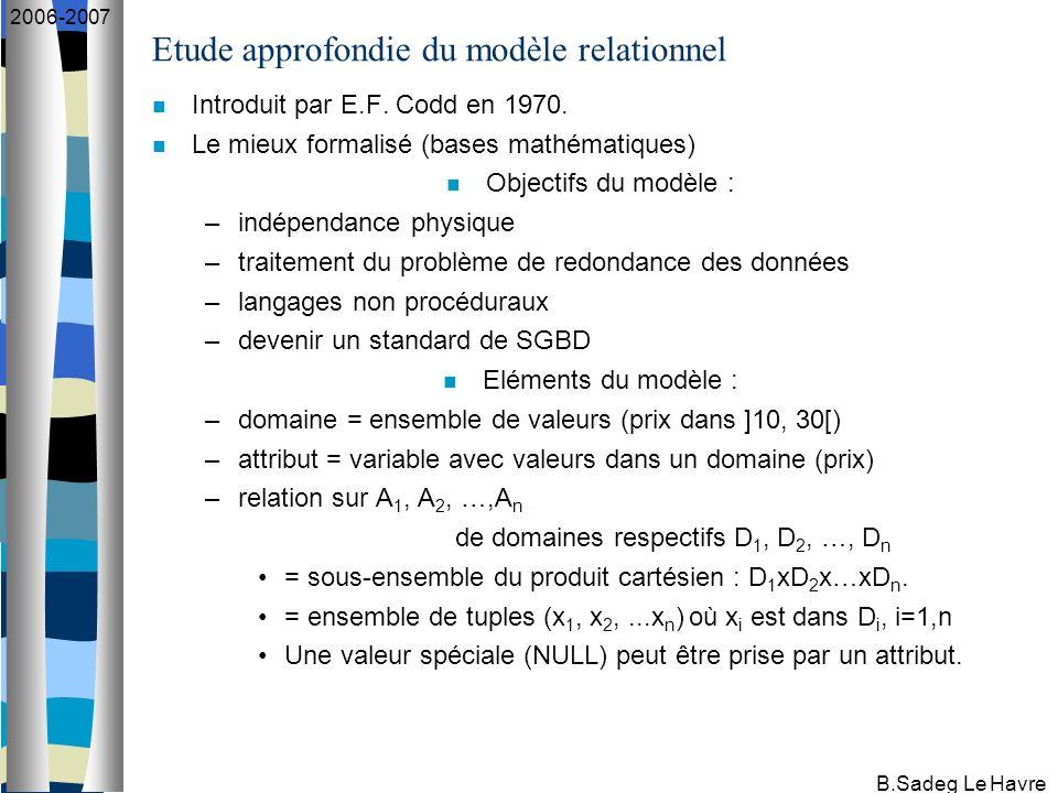 B.Sadeg Le Havre 2006-2007 Etude approfondie du modèle relationnel Introduit par E.F. Codd en 1970. Le mieux formalisé (bases mathématiques) Objectifs