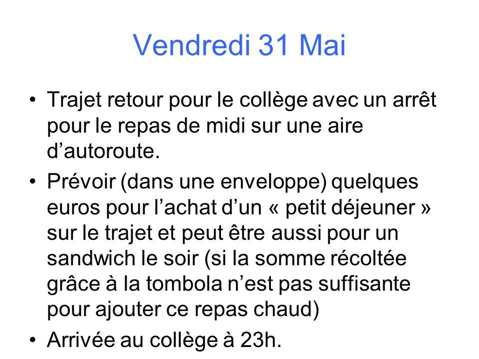 Vendredi 31 Mai Trajet retour pour le collège avec un arrêt pour le repas de midi sur une aire dautoroute. Prévoir (dans une enveloppe) quelques euros