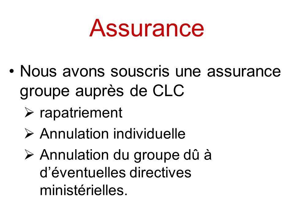 Assurance Nous avons souscris une assurance groupe auprès de CLC rapatriement Annulation individuelle Annulation du groupe dû à déventuelles directive