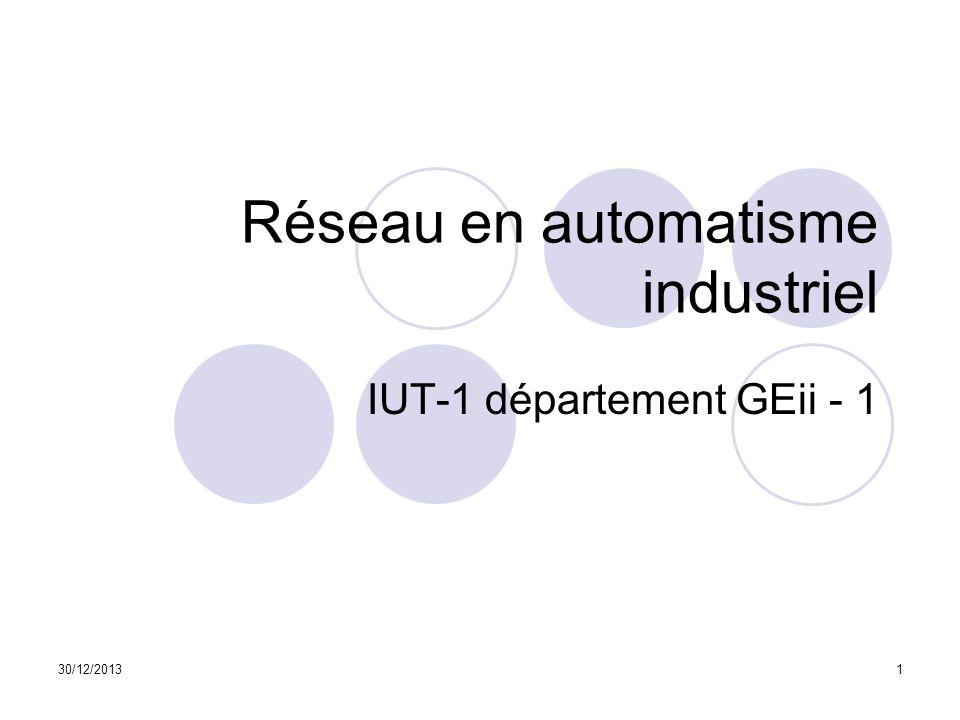 30/12/20131 Réseau en automatisme industriel IUT-1 département GEii - 1