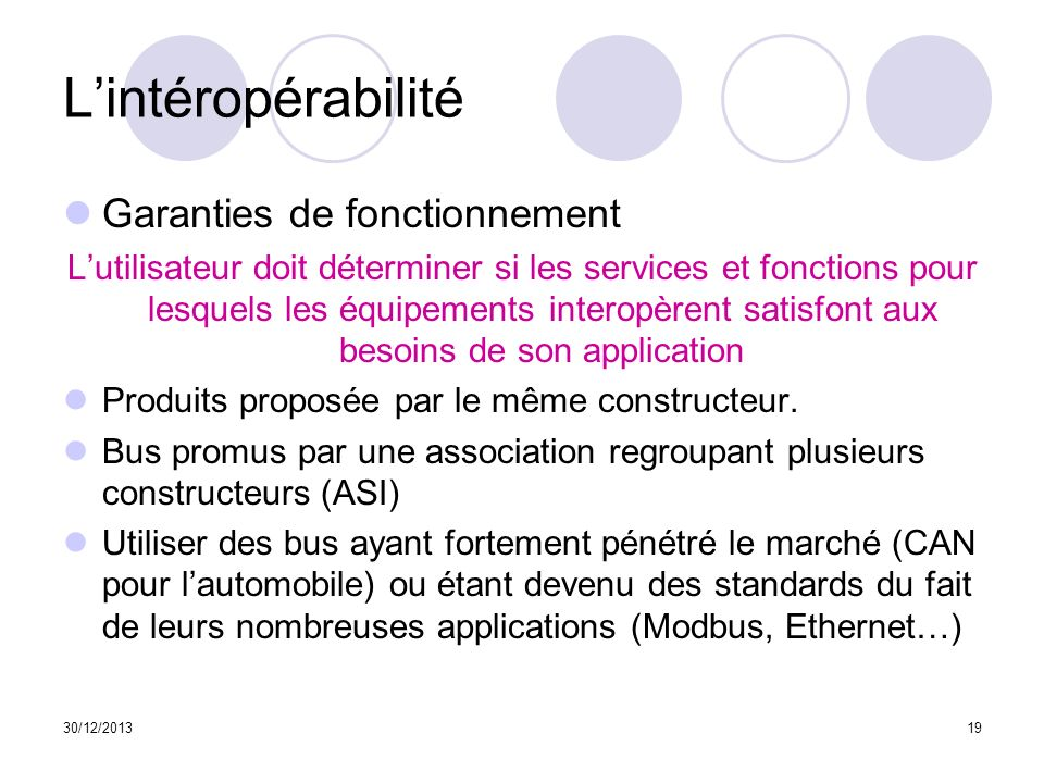 30/12/201319 Lintéropérabilité Garanties de fonctionnement Lutilisateur doit déterminer si les services et fonctions pour lesquels les équipements int