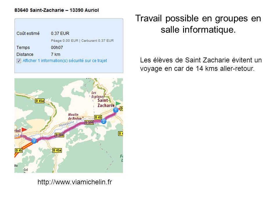 Travail possible en groupes en salle informatique. Les élèves de Saint Zacharie évitent un voyage en car de 14 kms aller-retour. http://www.viamicheli