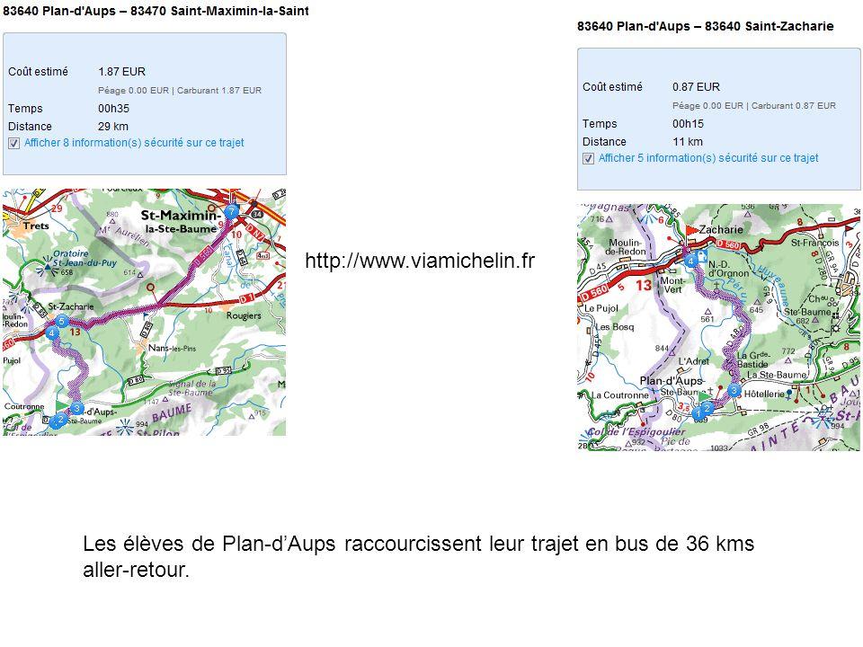 http://www.viamichelin.fr Les élèves de Plan-dAups raccourcissent leur trajet en bus de 36 kms aller-retour.