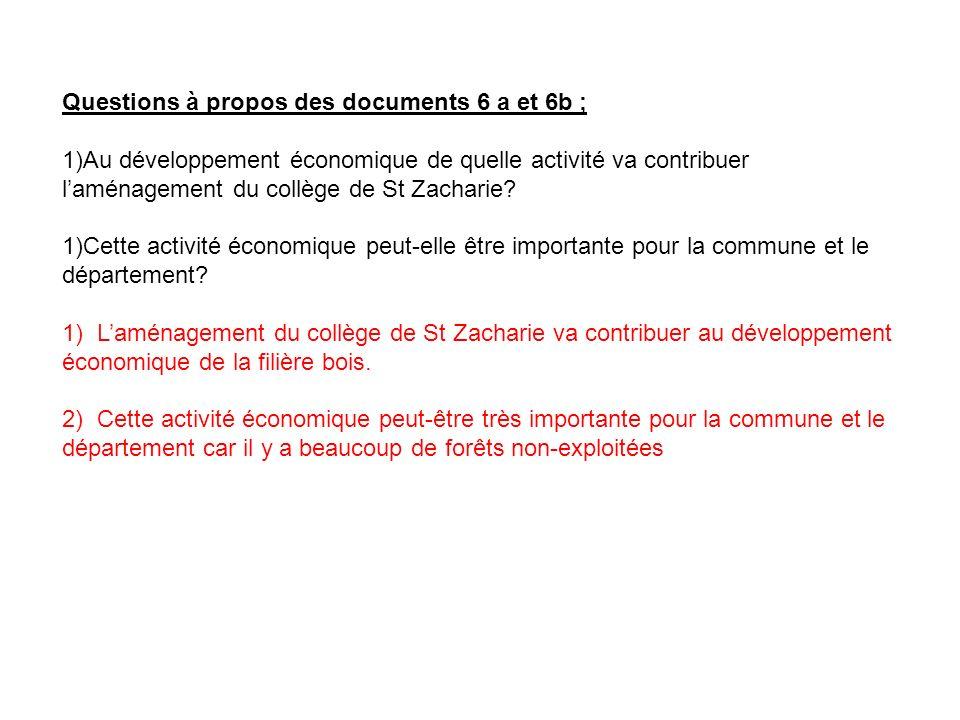 Questions à propos des documents 6 a et 6b ; 1)Au développement économique de quelle activité va contribuer laménagement du collège de St Zacharie? 1)