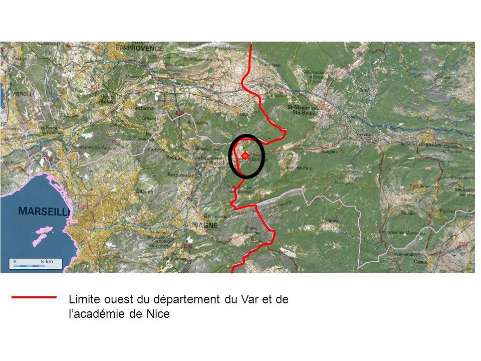 Limite ouest du département du Var et de lacadémie de Nice