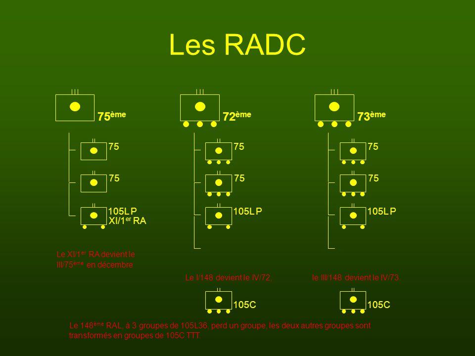 Les RADC Le XI/1 er RA devient le Le 148 ème RAL, à 3 groupes de 105L36, perd un groupe, les deux autres groupes sont 75 105L P 75 105C 105L P 75 ème