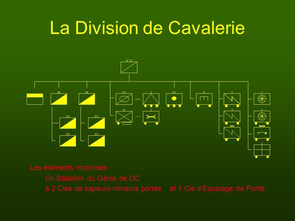 La Division de Cavalerie Un Bataillon du Génie de DC et 1 Cie dEquipage de Ponts. Les éléments motorisés : à 2 Cies de sapeurs-mineurs portés