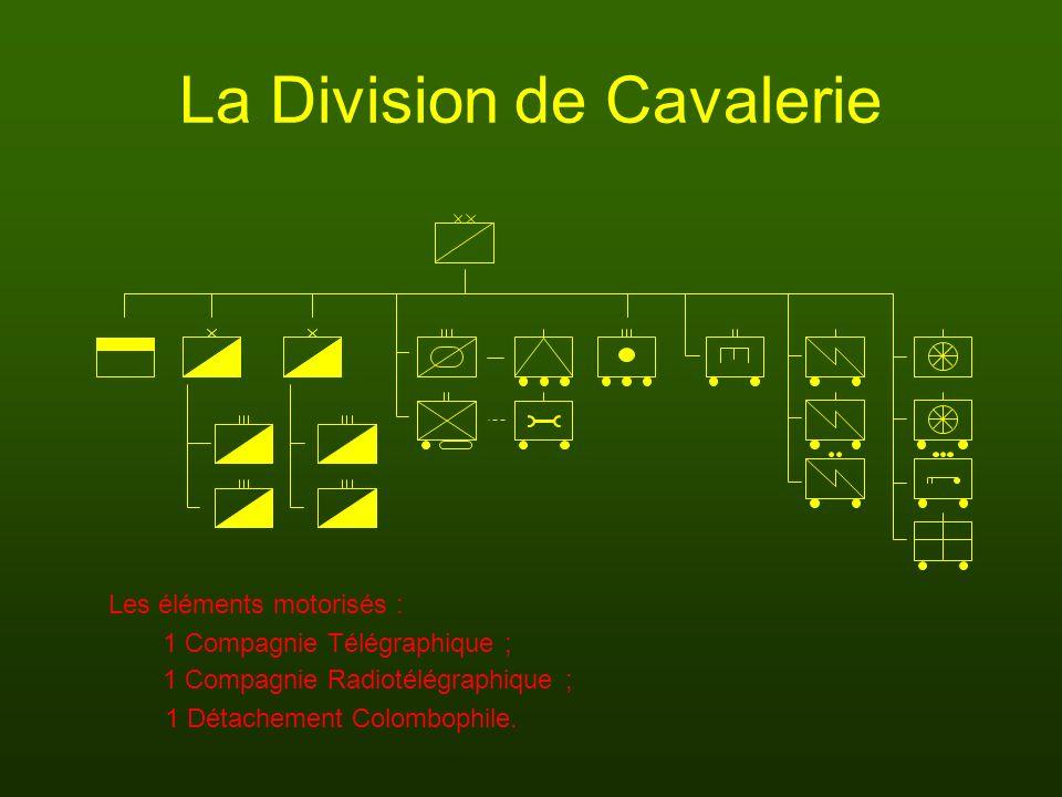 La Division de Cavalerie 1 Compagnie Télégraphique ; 1 Détachement Colombophile. Les éléments motorisés : 1 Compagnie Radiotélégraphique ;