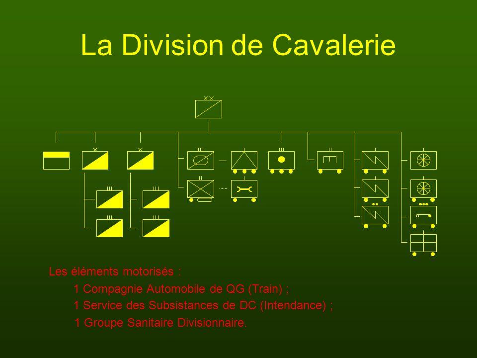 La Division de Cavalerie 1 Compagnie Automobile de QG (Train) ; 1 Groupe Sanitaire Divisionnaire. Les éléments motorisés : 1 Service des Subsistances