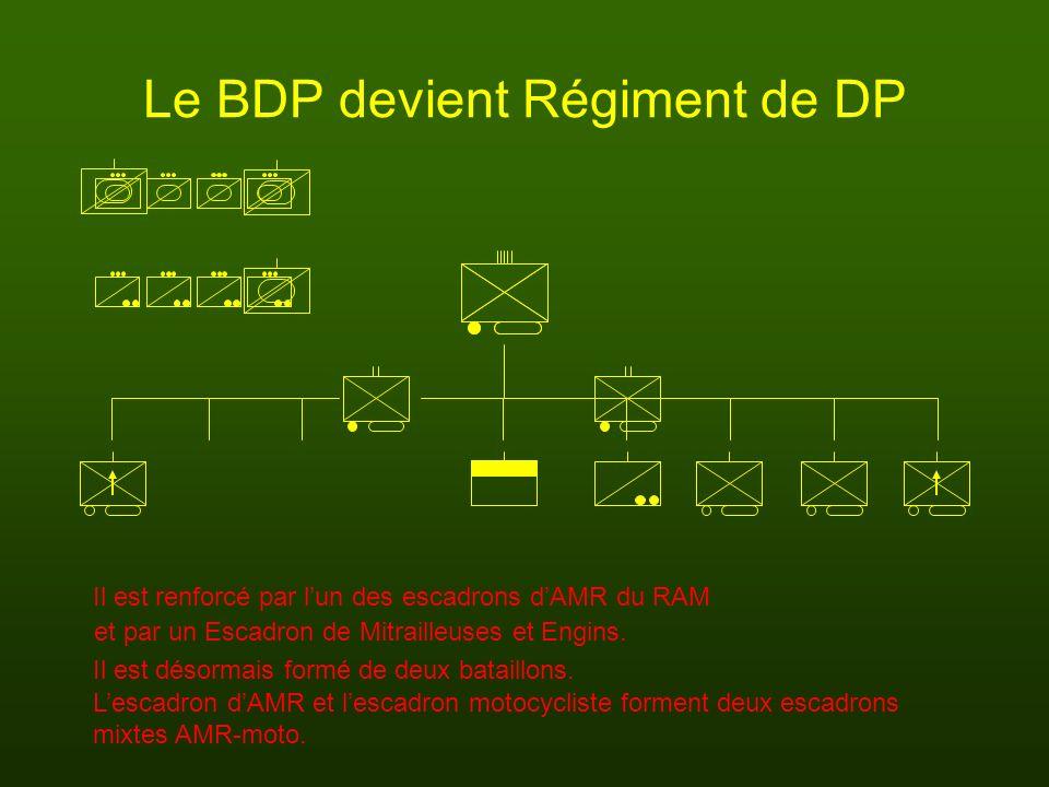 Le BDP devient Régiment de DP Il est renforcé par lun des escadrons dAMR du RAM Lescadron dAMR et lescadron motocycliste forment deux escadrons et par