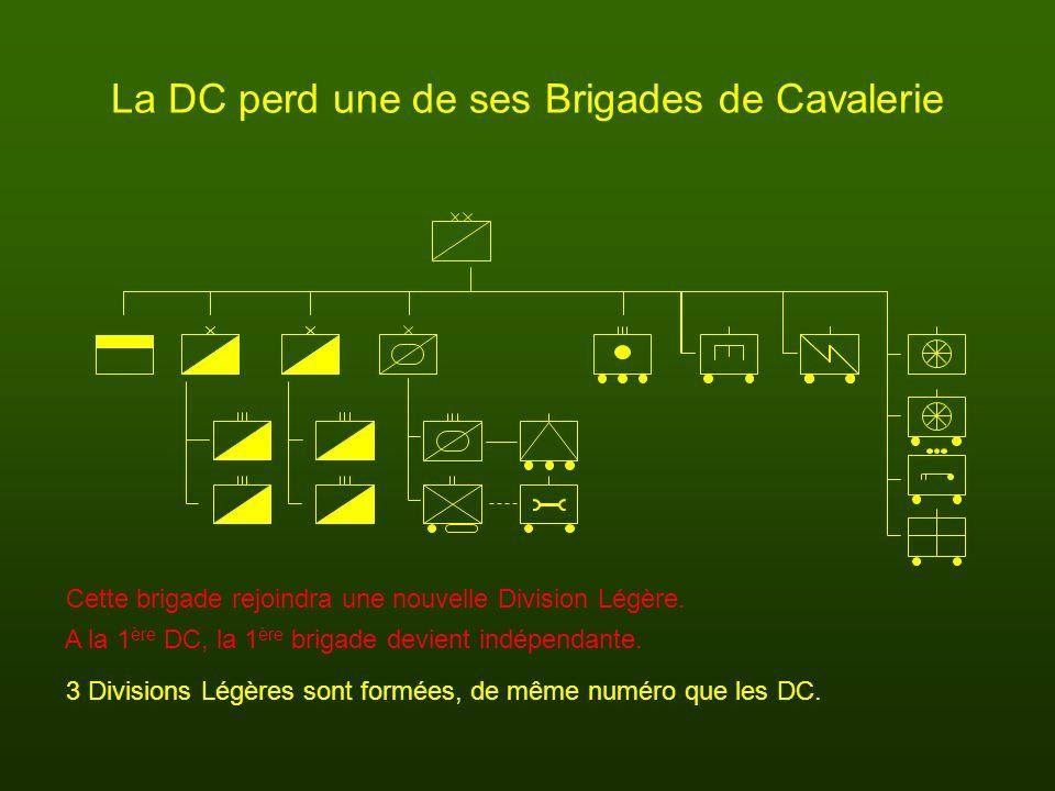 La DC perd une de ses Brigades de Cavalerie Cette brigade rejoindra une nouvelle Division Légère. 3 Divisions Légères sont formées, de même numéro que
