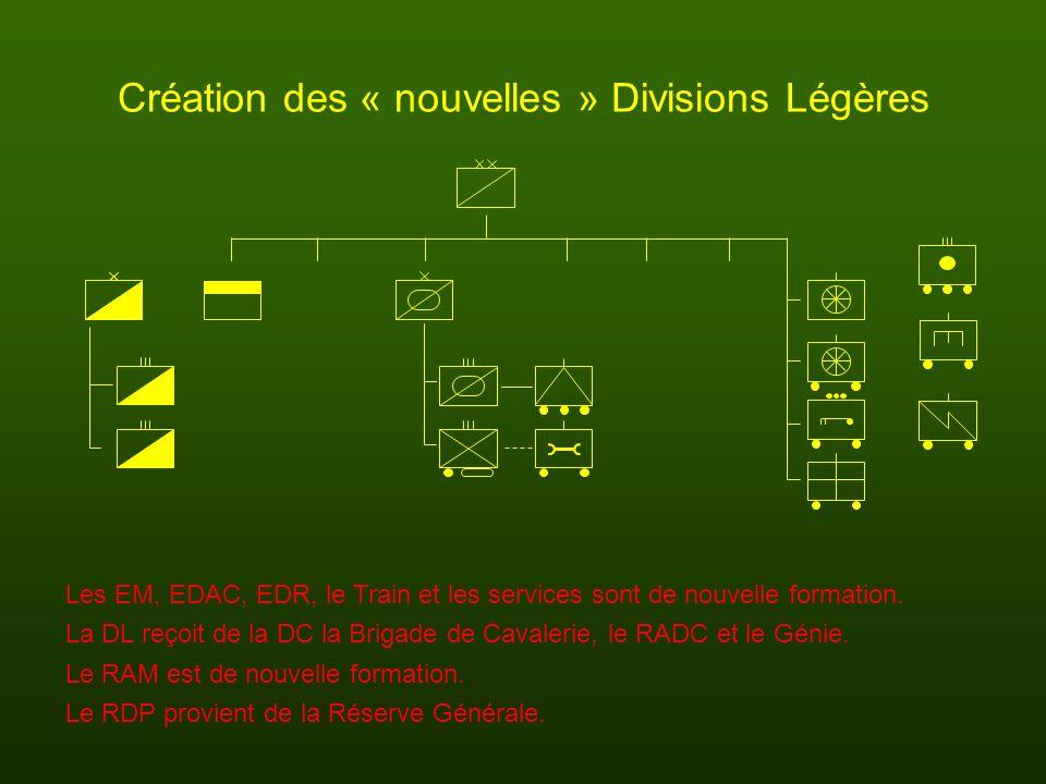 Création des « nouvelles » Divisions Légères Les EM, EDAC, EDR, le Train et les services sont de nouvelle formation. La DL reçoit de la DC la Brigade