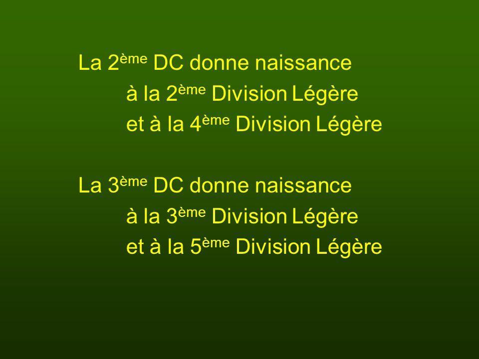 La 2 ème DC donne naissance à la 2 ème Division Légère et à la 4 ème Division Légère La 3 ème DC donne naissance à la 3 ème Division Légère et à la 5