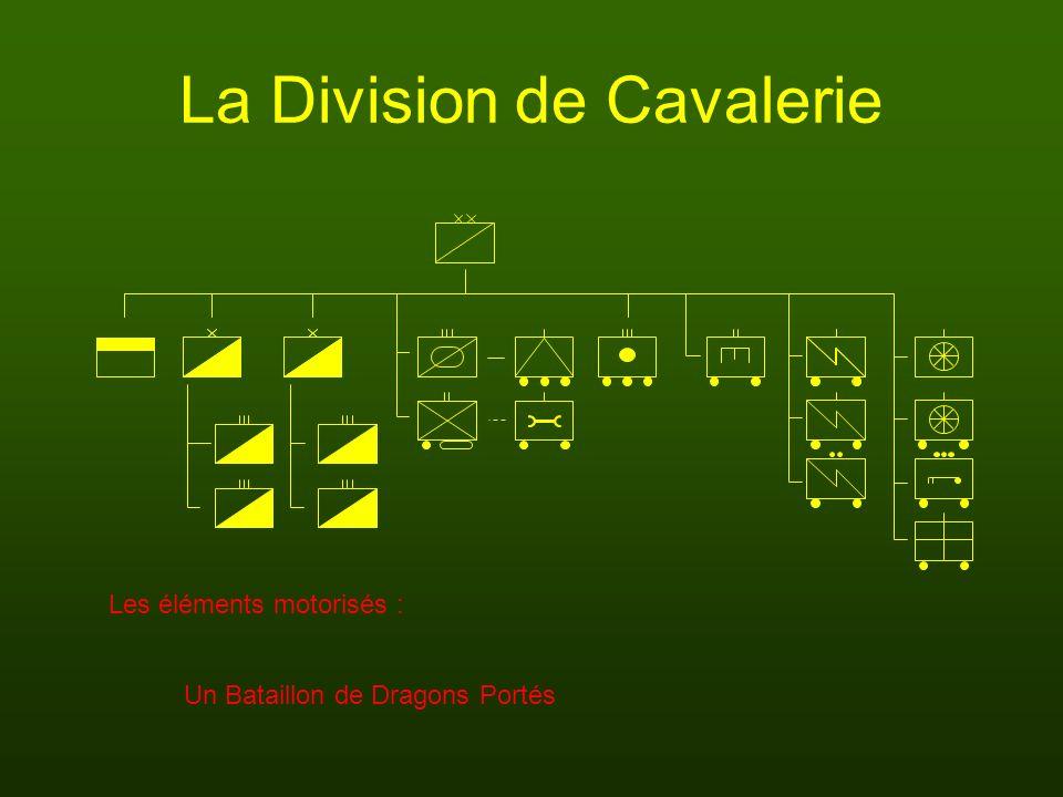 La Division de Cavalerie Un Bataillon de Dragons Portés Les éléments motorisés :
