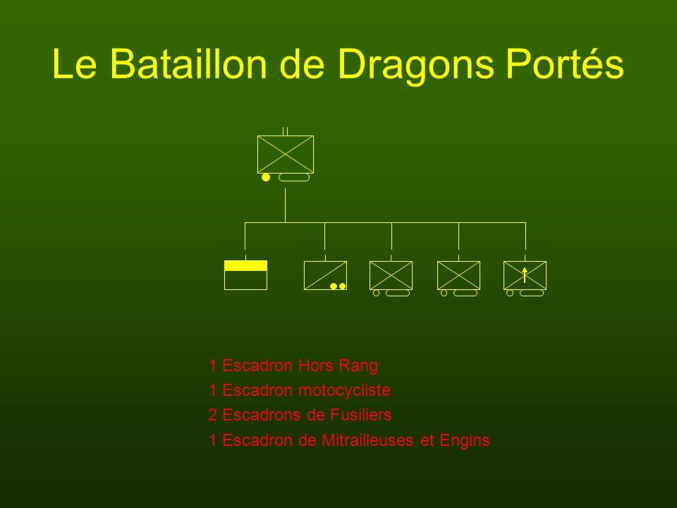 Le Bataillon de Dragons Portés 1 Escadron Hors Rang 2 Escadrons de Fusiliers 1 Escadron motocycliste 1 Escadron de Mitrailleuses et Engins