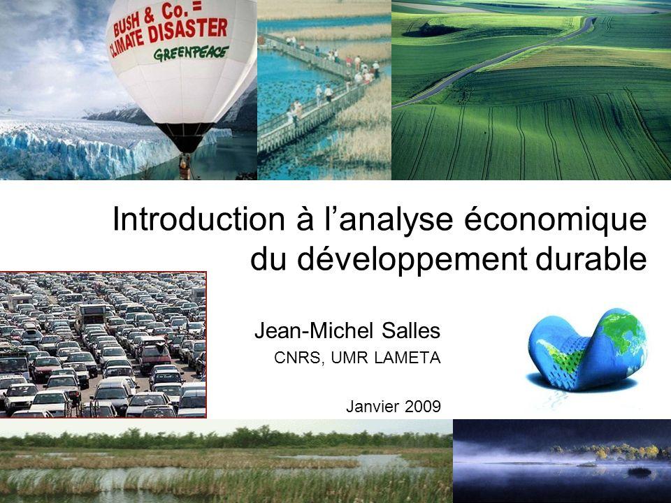 Introduction à lanalyse économique du développement durable Jean-Michel Salles CNRS, UMR LAMETA Janvier 2009
