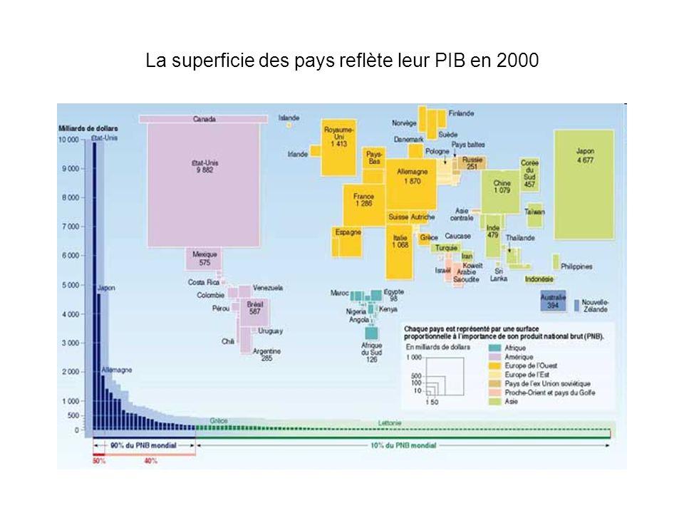 La superficie des pays reflète leur PIB en 2000