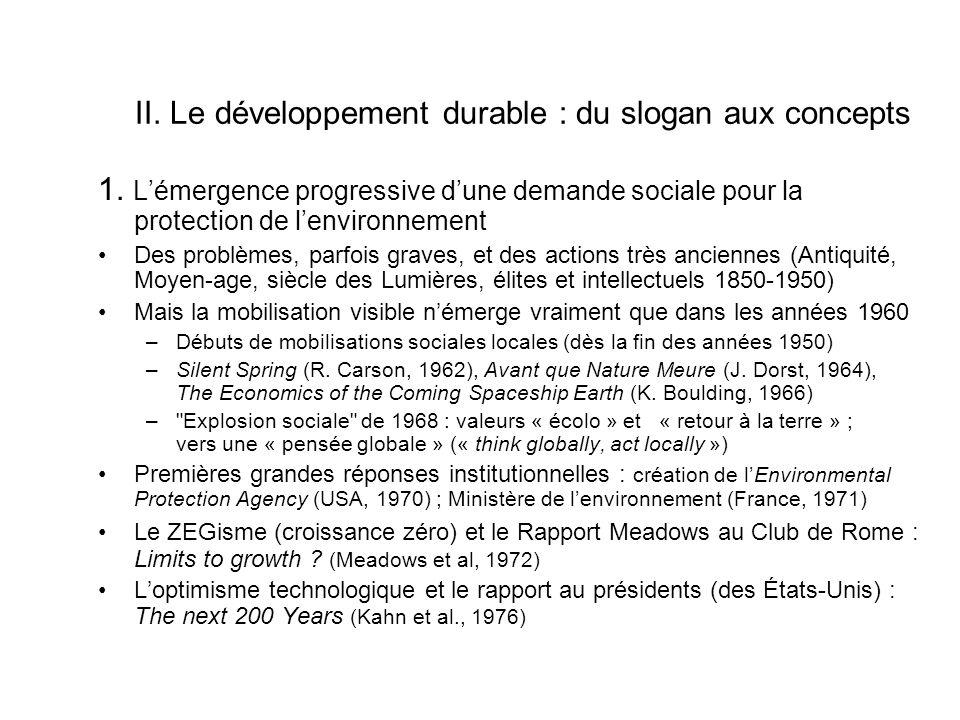 II.Le développement durable : du slogan aux concepts 1.