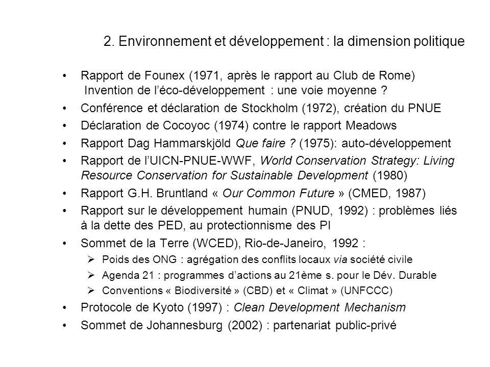 2. Environnement et développement : la dimension politique Rapport de Founex (1971, après le rapport au Club de Rome) Invention de léco-développement