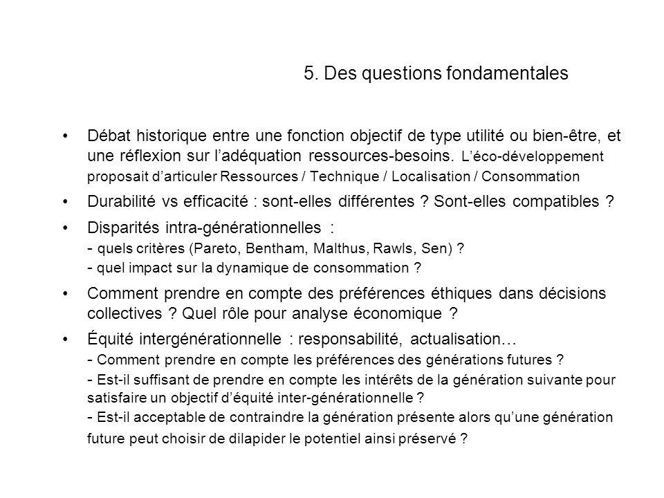 5. Des questions fondamentales Débat historique entre une fonction objectif de type utilité ou bien-être, et une réflexion sur ladéquation ressources-