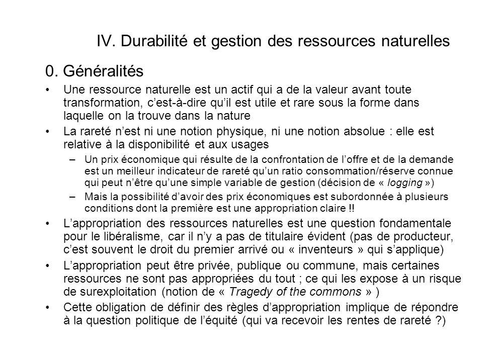 IV.Durabilité et gestion des ressources naturelles 0.