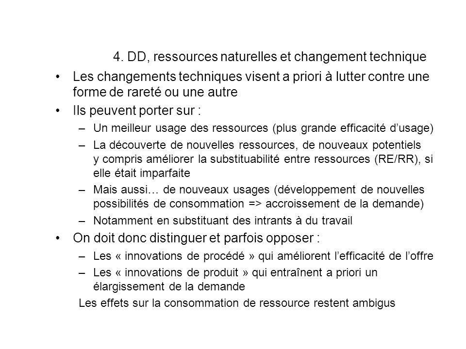 4. DD, ressources naturelles et changement technique Les changements techniques visent a priori à lutter contre une forme de rareté ou une autre Ils p