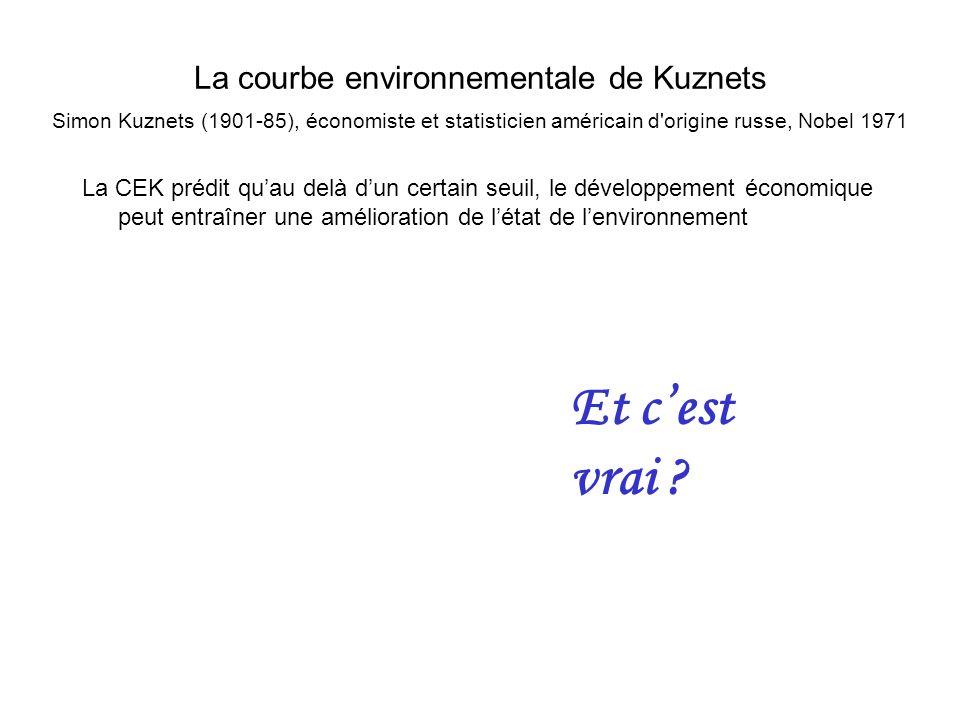 La courbe environnementale de Kuznets Simon Kuznets (1901-85), économiste et statisticien américain d origine russe, Nobel 1971 La CEK prédit quau delà dun certain seuil, le développement économique peut entraîner une amélioration de létat de lenvironnement Et cest vrai ?