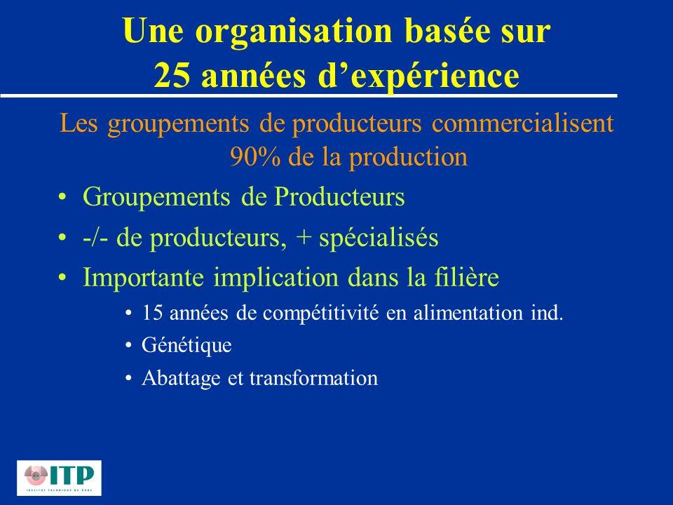 Une organisation basée sur 25 années dexpérience Les groupements de producteurs commercialisent 90% de la production Groupements de Producteurs -/- de