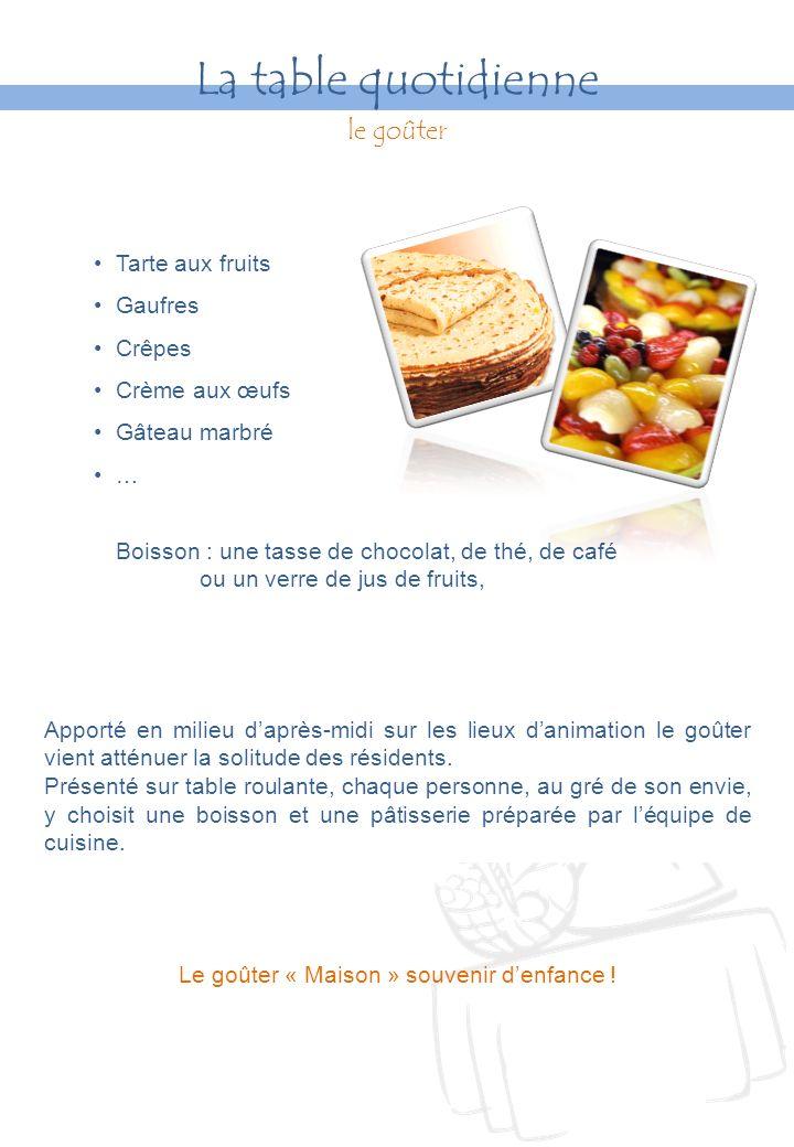 Tarte aux fruits Gaufres Crêpes Crème aux œufs Gâteau marbré … Boisson : une tasse de chocolat, de thé, de café ou un verre de jus de fruits, Le goûter « Maison » souvenir denfance .