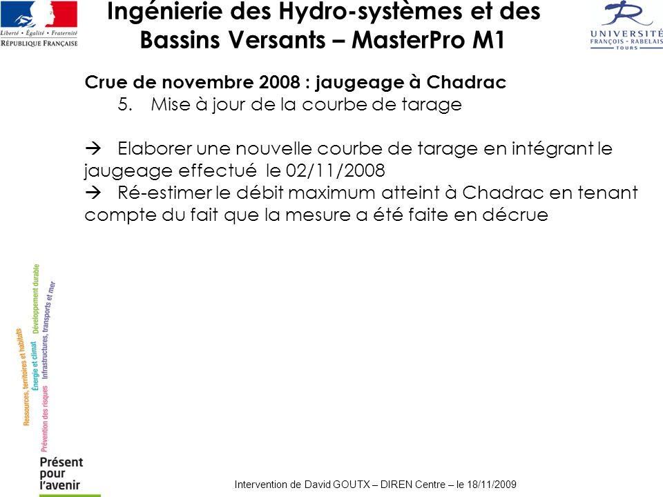 Ingénierie des Hydro-systèmes et des Bassins Versants – MasterPro M1 Intervention de David GOUTX – DIREN Centre – le 18/11/2009 Crue de novembre 2008