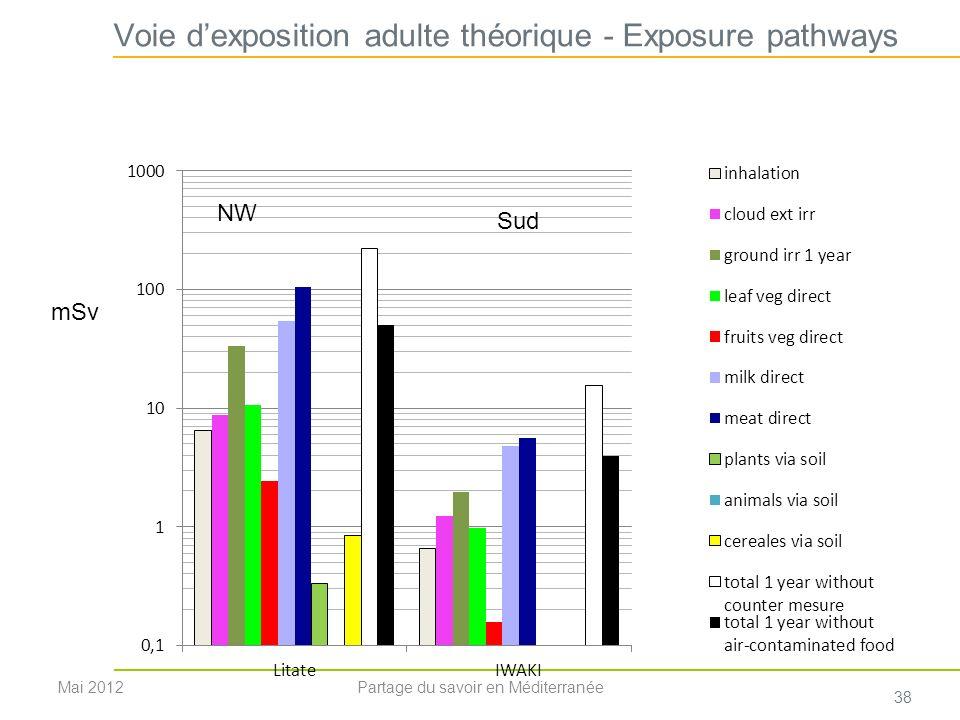 Voie dexposition adulte théorique - Exposure pathways mSv NW Mai 2012 38 Partage du savoir en Méditerranée