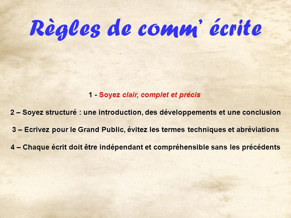 Règles de comm écrite 1 - Soyez clair, complet et précis 2 – Soyez structuré : une introduction, des développements et une conclusion 3 – Ecrivez pour