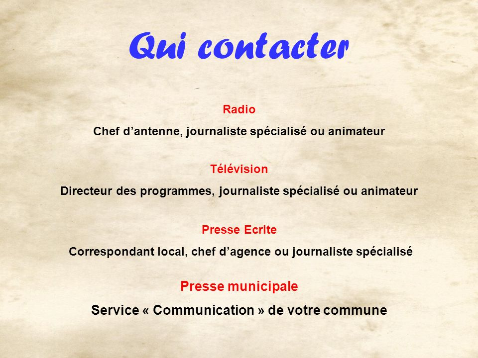 Qui contacter Radio Chef dantenne, journaliste spécialisé ou animateur Télévision Directeur des programmes, journaliste spécialisé ou animateur Presse