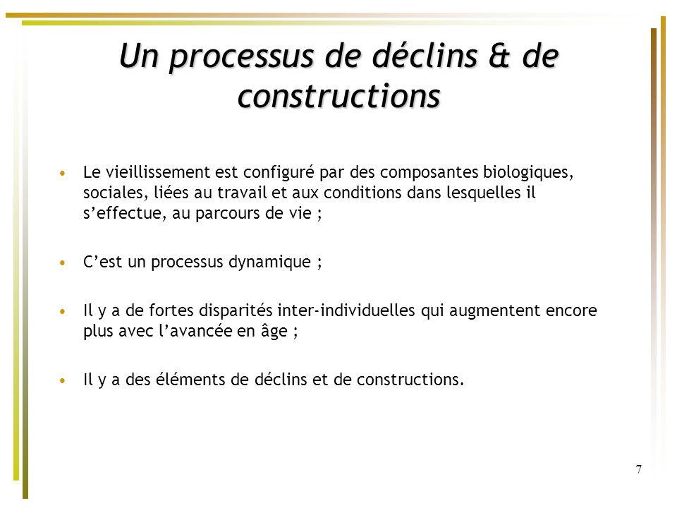 7 Un processus de déclins & de constructions Le vieillissement est configuré par des composantes biologiques, sociales, liées au travail et aux condit