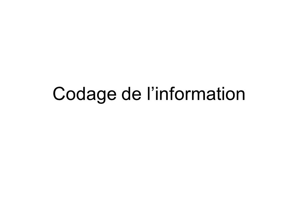 Codage de linformation