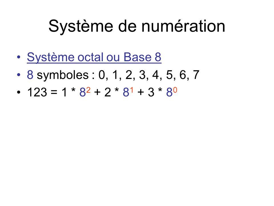 Système de numération Système octal ou Base 8 8 symboles : 0, 1, 2, 3, 4, 5, 6, 7 123 = 1 * 8 2 + 2 * 8 1 + 3 * 8 0