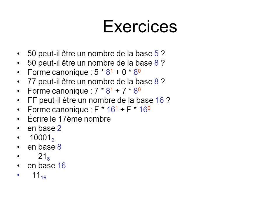 Exercices 50 peut-il être un nombre de la base 5 ? 50 peut-il être un nombre de la base 8 ? Forme canonique : 5 * 8 1 + 0 * 8 0 77 peut-il être un nom